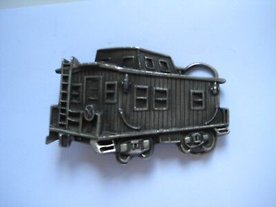 Old Vintage Chicago Pewter Railroad Car Caboose Train Railway Belt Buckle Minty