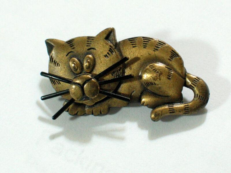 Stripped Cat Cuddling Metal Pin