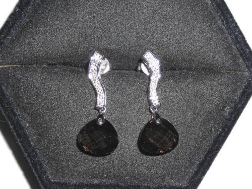 Contemporary 14K White Gold Diamond and Smokey Topaz Pierced Earrings