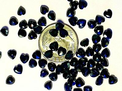 5 Heart Shaped Natural Dark Blue Sapphires loose faceted gemstones
