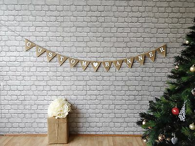 CUSTOM ORDER HESSIAN DECOR BUNTING BURLAP PHOTO PROP GARLAND WEDDING (Custom Decorations)