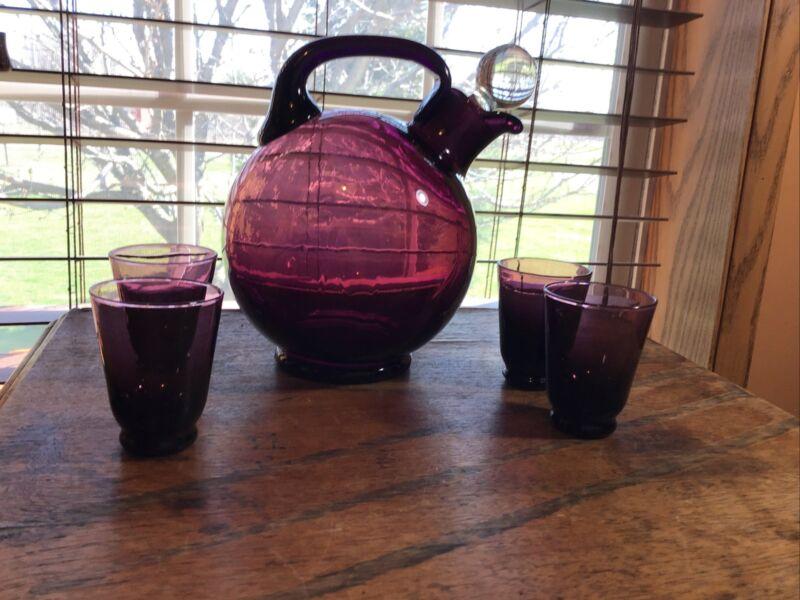 Vintage Cambridge  Amethyst Purple Decanter pitcher With 4 Shot Cordial Glasses