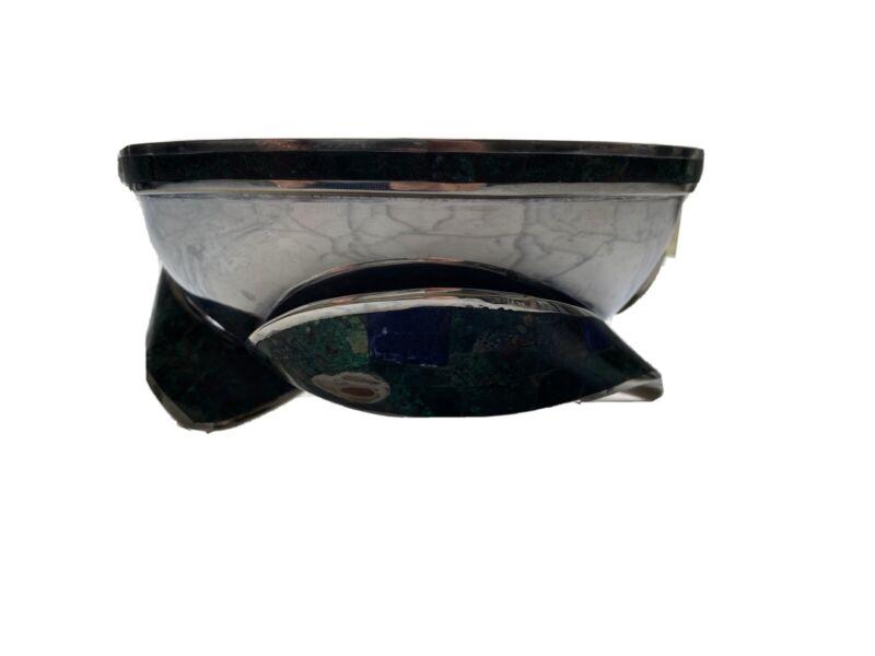 Mid Century Los Castillo Taxco Fish Footed Silver Plate Malachite & Azurite Bowl