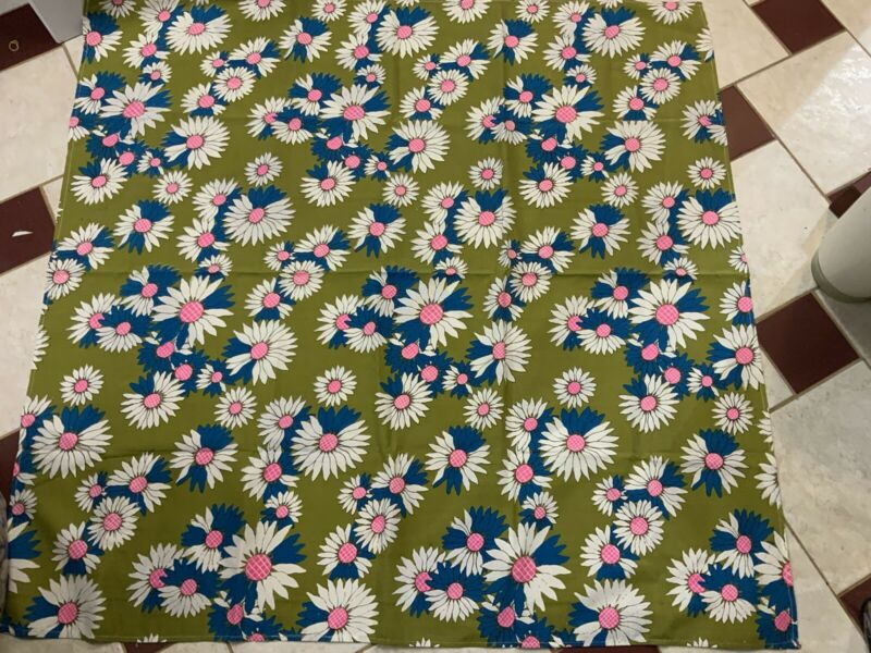 Vintage 1960s Tablecloth Avocado Background Is Daisy's With Pink Centers