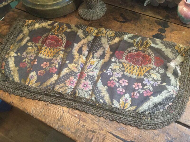 Antique Vintage Silk Brocade Table Runner~Dresser Scarf w Metal Thread Work Lace