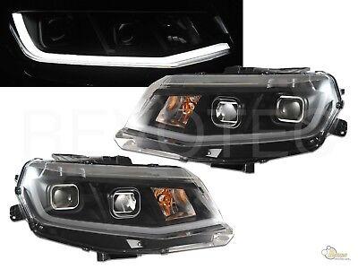 Black Housing Plank Style LED Bar Projector Headlights For 16-18 Chevy Camaro Black Housing Projector Headlights
