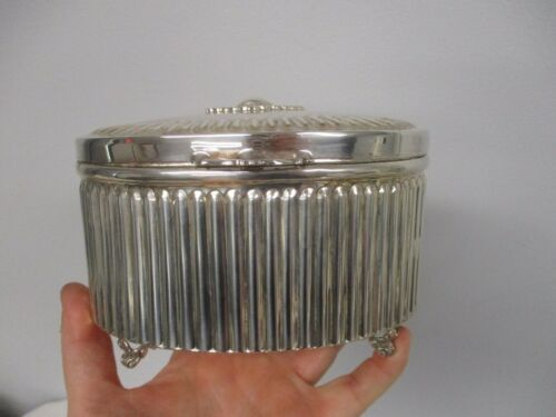 VINTAGE 925 STERLING SILVER HINGED RIBBED JUDAICA FOOTED ETROG SPICE BOX