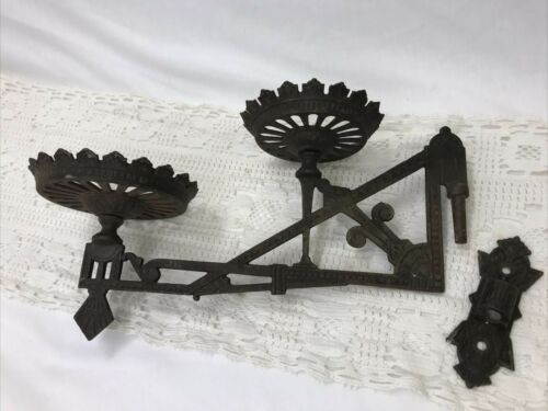 Vtg Antique Eastlake Wall Sconce Double Oil Lamp Holder Victorian Iron or Plants