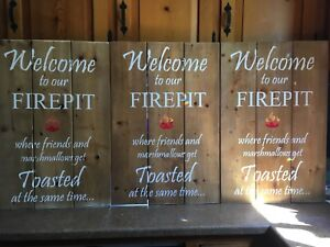 Exterior fire-pit and campfire signs