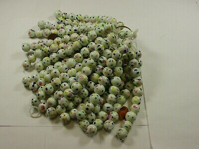 230 Pieces 13mm - 15mm Round White Hand Painted Glass Beads Wholesale Bulk Lot - Painted Round Glass