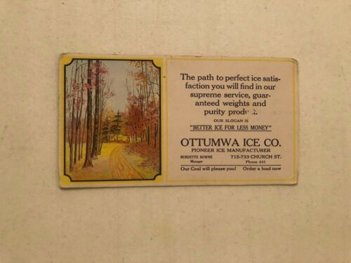 Vintage Original OTTUMWA ICE CO. Blotter