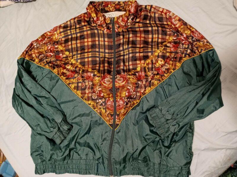 Vintage 80s Track Suit Jacket Nylon SPORTS ACCENT 2xl Plaid Floral