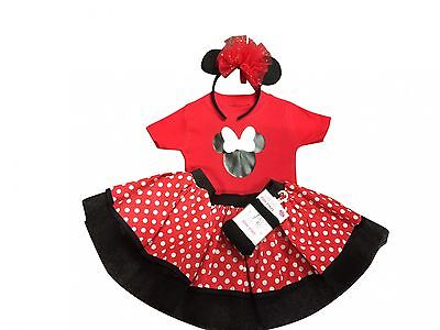 Baby Mini Mouse T-Shirt Baby Grow Polka Dot Tutu Skirt Headband Tights Party - Mini Mouse Baby Costume