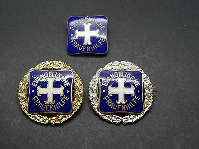 3 Mitgliedsabzeichen Evangelische Frauenhilfe Silberne Goldene Ehrennadel (14715