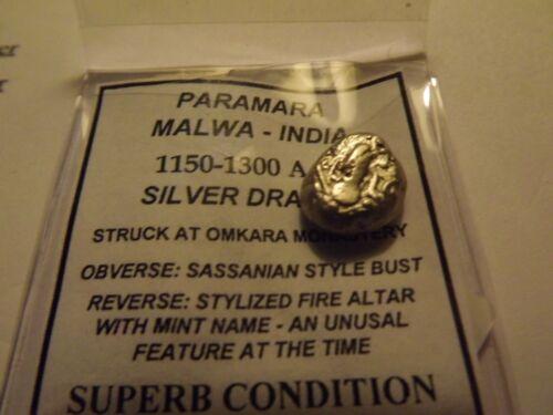 1150-1300 AD Paramara Malwa-India ExcelleSilver Billion Drachm Superb Condition2