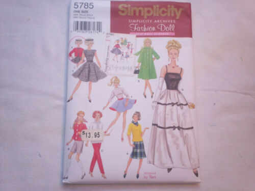 """wFits Barbie Simplicity Sewing Pattern #5785 - 11 1/2"""" Doll clothes"""