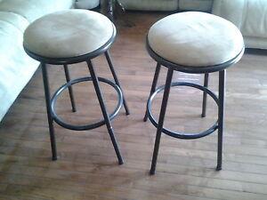 2 bar stools rotating seats