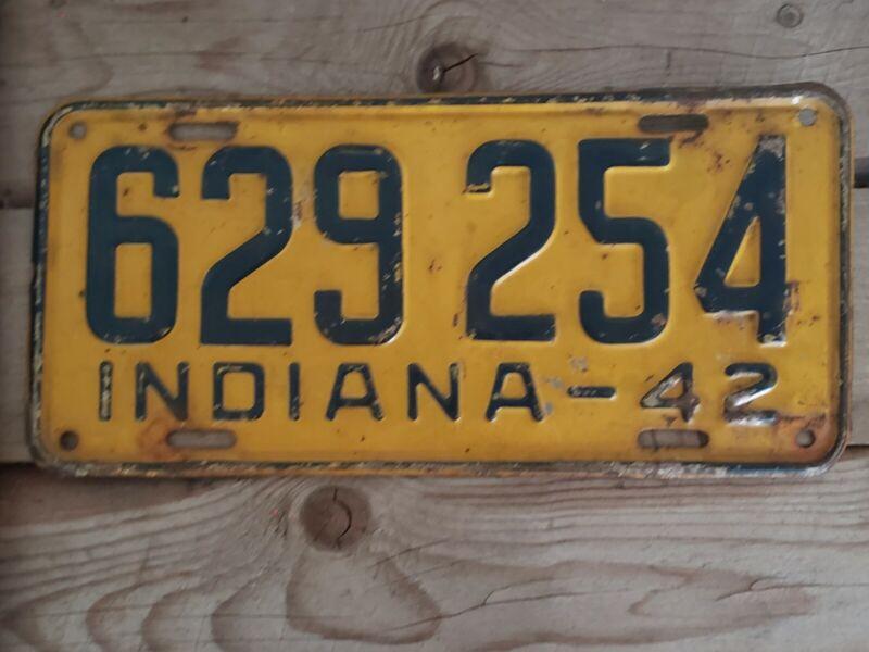 Vintage Indiana 1942 License Plate