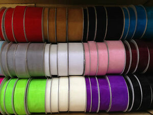 Woven-Edge-Organza-Ribbon-10mm-15mm-23mm-38mm-Various-Colours
