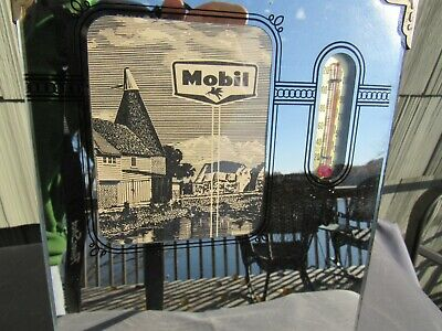 ORIGINAL VINTAGE MOBIL OIL REVERSE PAINTED GLASS ADVERTISING THERMOMETER SIGN
