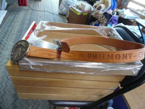 Vintage Philmont Cimarron, N.M. leather belt & bronze buckle sz 38 boy scouts