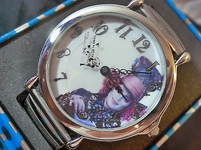 Disney MAD HATTER WATCH Johnny Depp UNIQUE Style Tin Box w Elastic Band NEW