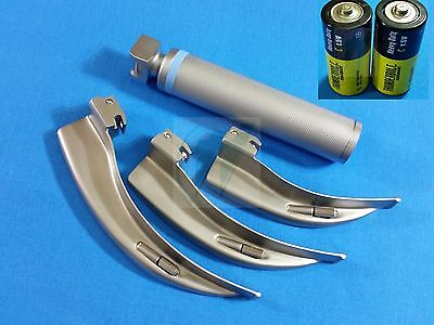 3 Laryngoscope Macintosh Mac Blades 2 3 4 Medium Handlebatteries Emt Set
