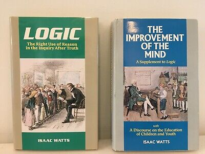 Lot Of 2 Isaac Watts Books -Improvement Of The Mind & Logic-Like New Dust Covers