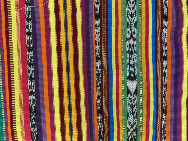 Guatemalan vintage Ikat Multi-colored fabric With Gold Thread Accent