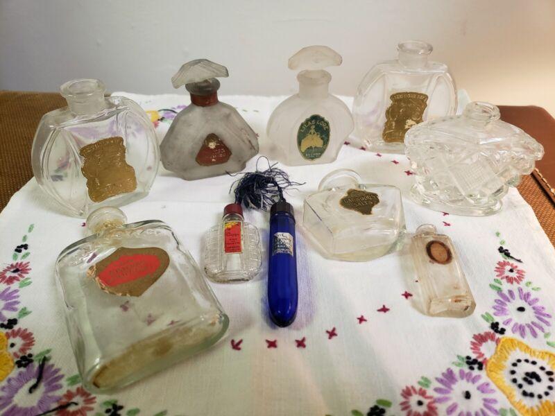 Lot of 10 Antique Ladies Perfume Bottles with Original Paper Labels Elmira NY