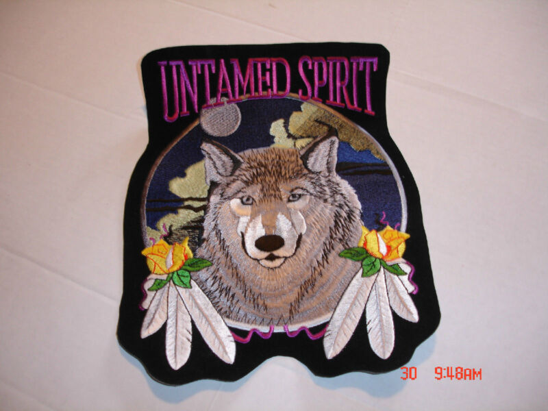 "WOLF WITH FEATHERS AND ROSE ""UNTAMED SPIRIT"" PATCH, 6 ¼"" WIDE X 7 ½"" TALL"