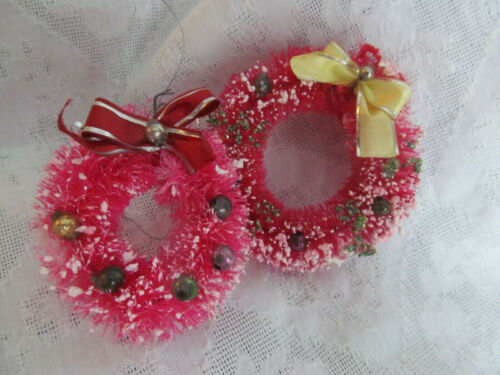 Hot Pink Retro 50s~2 Vintage Brush Christmas Wreath Ornaments w/Glass Balls 3""