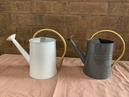 2 METAL ADULT WATERING CAN 1 GALLON WITH GOLD HANDLE & SPOUT