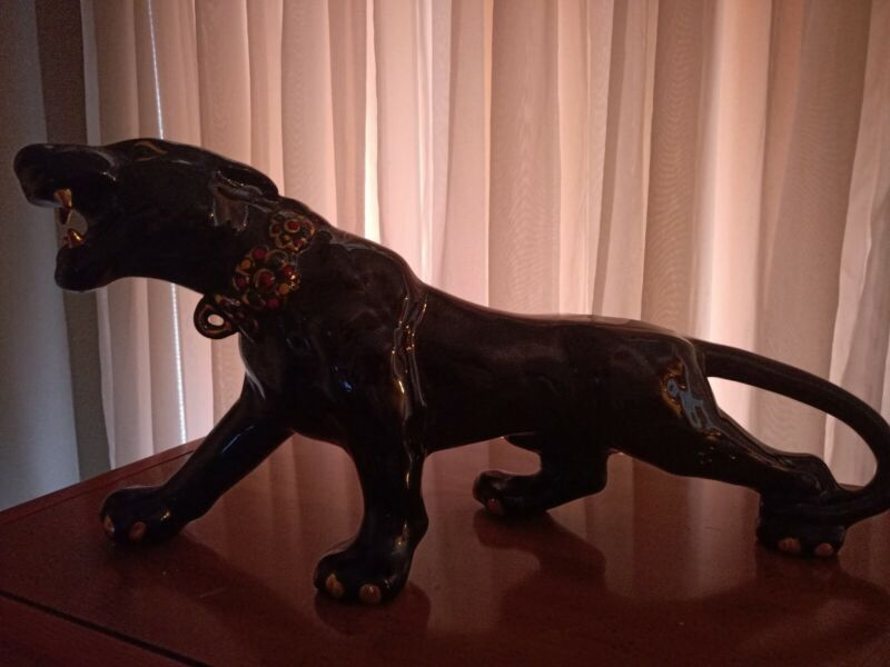 Vintage ceramic black panther