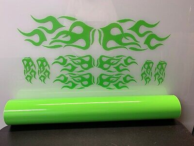 Motorcycle/Wheelchair/Auto/Truck Vinyl Graphic Flame Kit - GLOSS LIME GREEN for sale  Independence