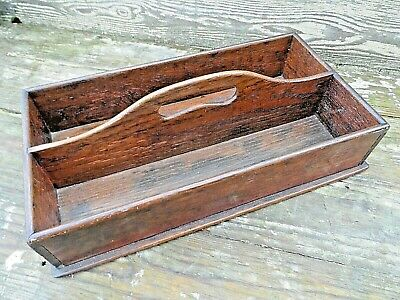 ANTIQUE WOODEN OAK CUTLERY / BUTLERS TRAY WITH CARRY HANDLE 15