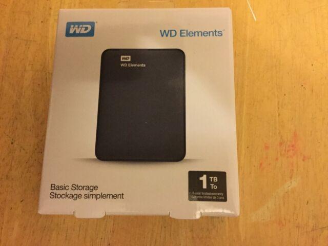 Western Digital Elements 1TB External HDD (WDBUZG0010BBK-EESN) USB powered