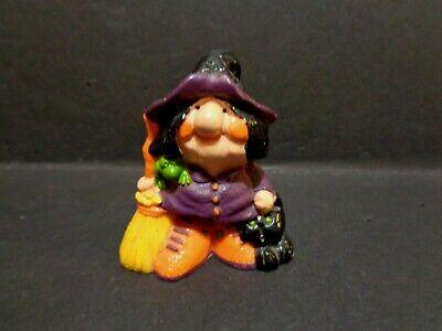 Vintage 1977 Hallmark Merry Miniatures Halloween Witch with Broom  - Hallmark Halloween Merry Miniatures