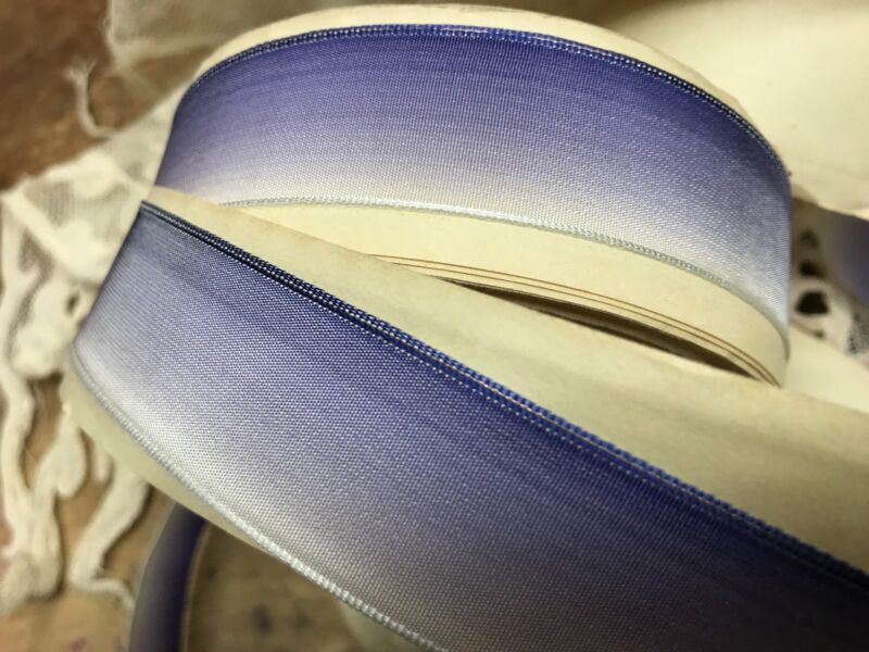 VINTAGE FRENCH RIBBON wire OMBRE 1yd WHITE to IRIS BLUE Made in France 3 sizes