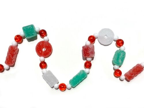 Sugared Candy Christmas Garland Lifesaver Peppermint Red Green Vintage Style