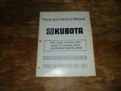 Kubota B2551 Two Stage Snowblower Parts Catalog Shop Service Repair Manual