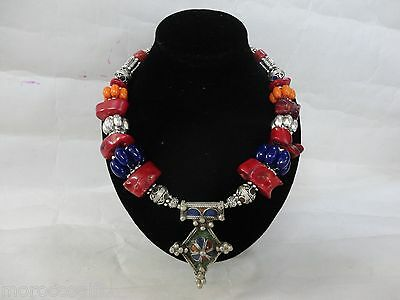 Moroccan African Berber  artisan Coral enameled Berber  Cross necklace