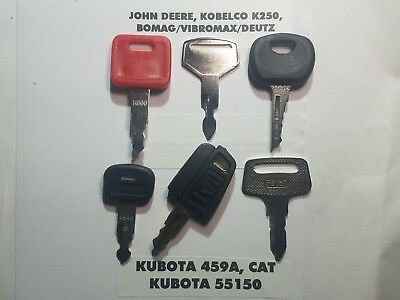 6 Heavy Equipment Keys John Deere Cat Kobelco Komatsu Bomag Key Set
