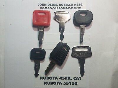 6 Heavy Equipment Keys John Deere Cat Kobelco Komatsu Bomag Key Set