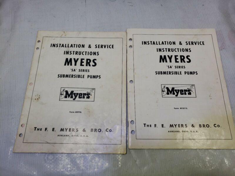Myers SA Series Submersible Pump service installation Instruction Manual lot 2