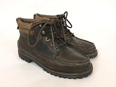 Eddie Bauer Brown Leather & Gore Tex Moc Toe Lace Up Boots / Men's 8 Gore Moc
