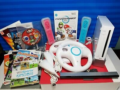 Nintendo Wii White Game Console Bundle (RVL-001) with MARIO KART Wii Wheels