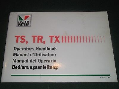 Lister Petter Ts Tr Tx Engine Operator Operation Maintenance Manual Book