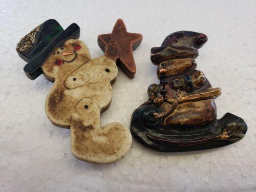Vintage Christmas Brooch Pin Lot Ceramic Snowman RUSTIC LOOK