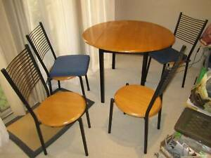 Dining table & chairs set, wrought iron & wood accents
